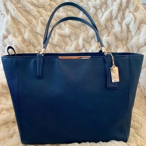 Coach Madison East West Tote Navy Blue